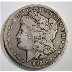 1892-CC MORGAN DOLLAR  VG/F