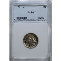 1937-D BUFFALO NICKEL NNC GRADED SUPERB GEM BU