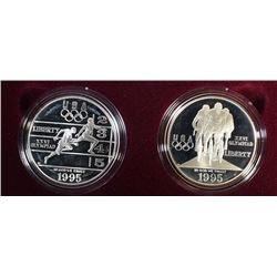 1995 Olympic Two-Coin Proof Set - Track & Cyclist