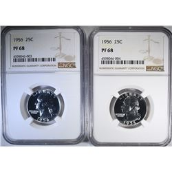 2-1956 WASHINGTON QUARTERS, NGC PF-68