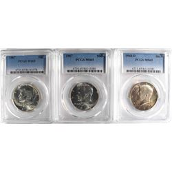 2-1967 & 68-D KENNEDY HALF DOLLARS, PCGS MS-65