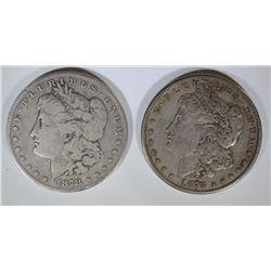 1878 7F VG & 1878-S XF MORGAN DOLLARS