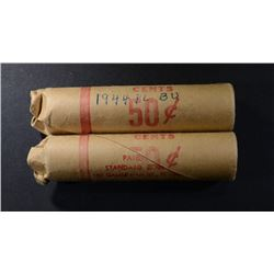 2- 1944 GEM BU RED LINCOLN CENT ROLLS