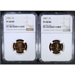 1956 & 1957 LINCOLN CENTS  NGC PF68 RD