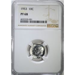 1953 ROOSEVELT DIME, NGC PF-68