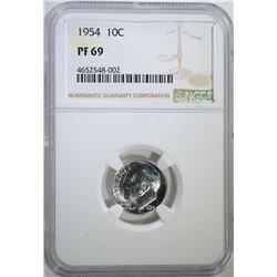 1954 ROOSEVELT DIME, NGC PF-69