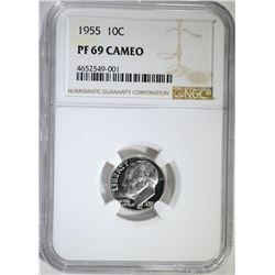 1955 ROOSEVELT DIME, NGC PF-69 CAMEO