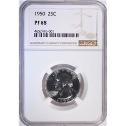 1950 WASHINGTON QUARTER, NGC PF-68 RARE!!