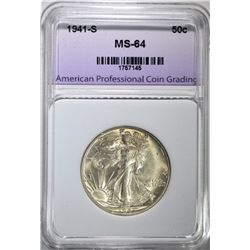1941-S WALKING LIBERTY HALF DOLLAR, APCG CH/GEM BU