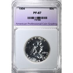 1954 FRANKLIN HALF DOLLAR, APCG SUPERB GEM PROOF