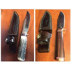 Set of 2, hand-made collectible hunting knives Value $400