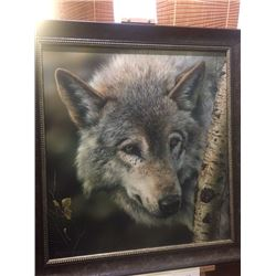 Silver and Gold - Wolf Painting by Dennis Mayer Jr. Valued at $2400