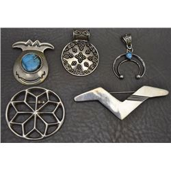 FIVE NAVAJO AND MEXICAN  JEWELRY ITEMS