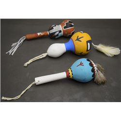 THREE HOPI RATTLES