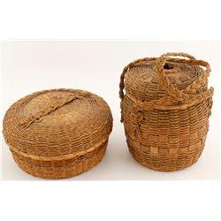 Two Splint Ash Micmac Lidded Baskets