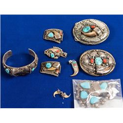 Native American Silver/Turquoise Jewelry Lot