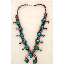 Navajo Turquoise Squash Blossom Necklace
