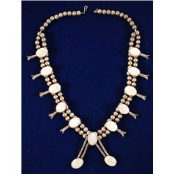 Silver and Pearl Squash Blossom Necklace