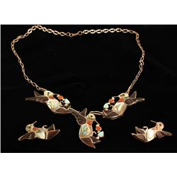Vintage Hummingbird Necklace Set