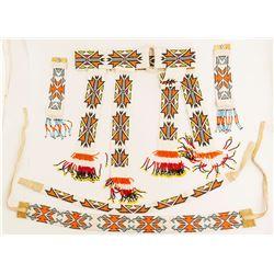 Paiute Ceremonial Beaded Belt, Wristbands and Headbands