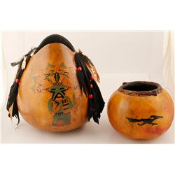Two Native American Painted Gourds