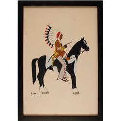 Warrior on Pinto Print by Spencer Asah