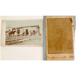 Cabinet Card of Sitting Bull's Cabin Plus One Other Photograph