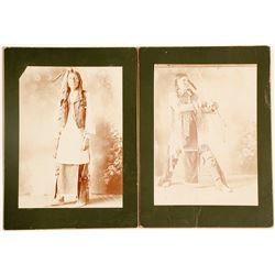 Two Mounted Studio Photographs of a Native American, c.1880s