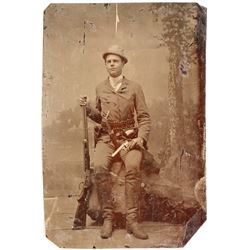 Small Daguerreotype of Cowboy or Plain Citizen Dressed as a Cowboy