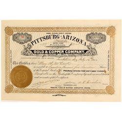 Pittsburg Arizona Gold & Copper Company Stock Certificate