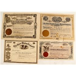 Four Different Graham County Stock Certificates