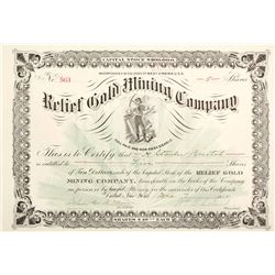 Relief Gold Mining Company Stock Certificate