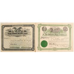 Two Golconda District Stock Certificates