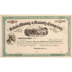 Salero Mining & Manufacturing Company Stock Certificate