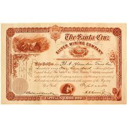 The Santa Cruz Silver Mining Company Stock Certificate