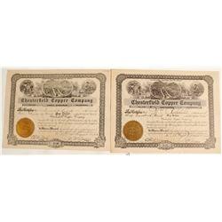 Chesterfield Copper Company Stock Certificates