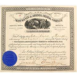 Wisconsin & Arizona Mining Company Stock Certificate