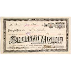 Cincinnati Mining Company Stock Certificate