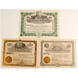 Three Unlisted Tombstone Stock Certificates
