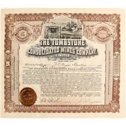 Tombstone Consolidated Mines Company Stock signed by Gage