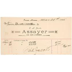 EA Jacobs Assay Certificate/Billhead (Tucson, AZ)