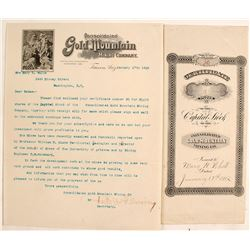 Letter & Capital Stock Cert. Cons. Gold Mountain Mining