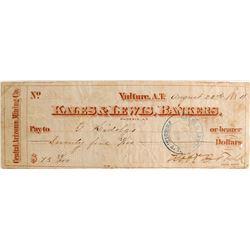 Nice Kales & Lewis Check printed Central Arizona Mining Company