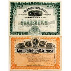 Two Nice Yavapai Stock Certificates