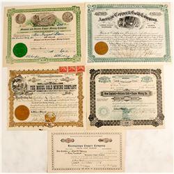 Five Big Bug District Stock Certificates