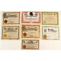 7 Different Yuma County Mining District Stock Certificates