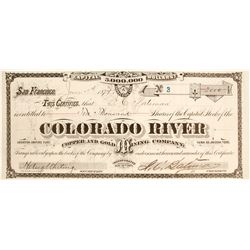 Colorado River Copper and Gold Mining Company Stock Certificate by Grafton T Brown
