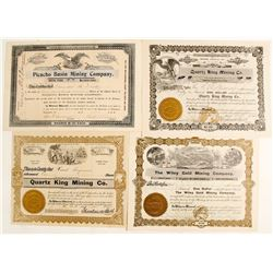 Four Different Plomosa District Stock Certificates