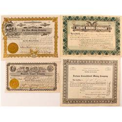 Four Different Arizona Mining Stock Certificates