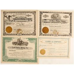 Four Very Early Numbered, Arizona [Incorporated] Mining Stocks